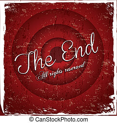 the end label over red wine background vector illustration