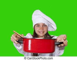 young chef with pot