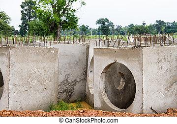 Concreto, Drenaje, tubos, construcción, sitio