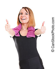 Portrait of successful winner celebrating by dancing. Beautiful young happy woman isolated on white with two thumbs up