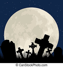 cemetery - Spooky Halloween cemetery with graveyard and moon