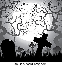 cemetery - Spooky Halloween cemetery with graveyard, trees,...