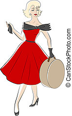 woman from 50s - Retro fashion woman from 50s