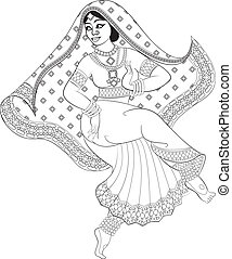 Indian woman - Sketch of indian woman dancer dancing