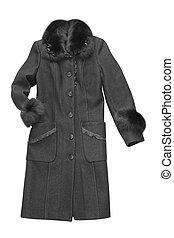 black woman coat isolated on white