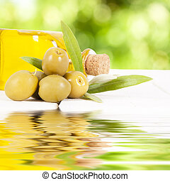 olives and bottle of oil, food backgrounds