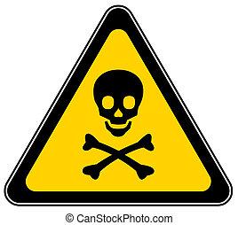 Mortal danger sign isolated on white