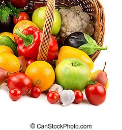 fruits and vegetables in a basket isolated on white background