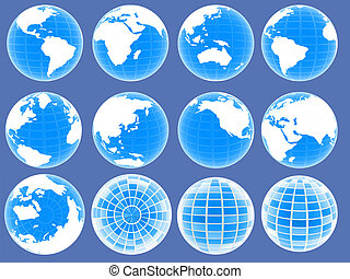 Set of 3d globe icons showing earth with all continents