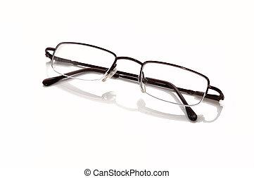 Metallic-rimmed eyeglasses. Isolated
