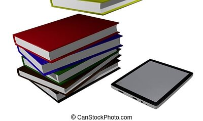 Electronic books - Stack of books being transferred into a...