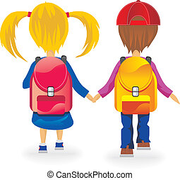 Kids back to school - kids go to school holding hands