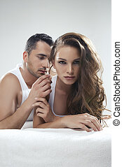 Emotive portrait of sensual couple