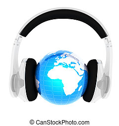 Blue earth with headphones from transparent plastic. World music concept isolated on white