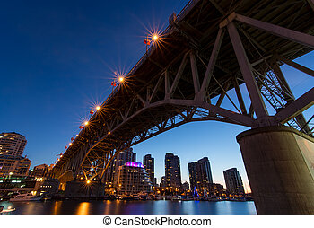 Granville Island Bridge on a Clear Night - Granville Island...