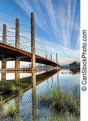 Pitt River Bridge With Clear Skies - Clear skies over the...