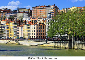 View of Lyon city with Saone river