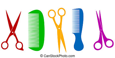 isolated scissors and comb - colorful isolated scissors and...