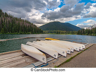 Numbered canoes on a lake dock - Lake dock with a number of...