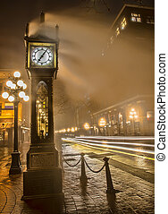Gastown Steam Clock with Car Light Streaks - Car light...