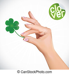Vector Hand Holding Clover Illustration