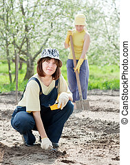 women works at vegetables garden
