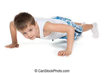 Training young athletic boy
