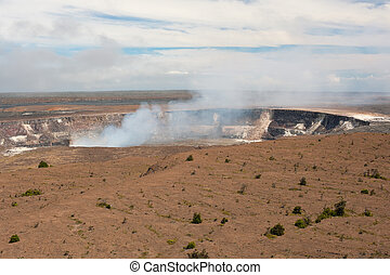 Kilauea volcano crater in Hawai'i Volcanoes National Park
