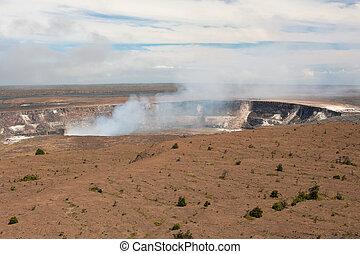 Kilauea volcano crater in Hawai'i Volcanoes National Park