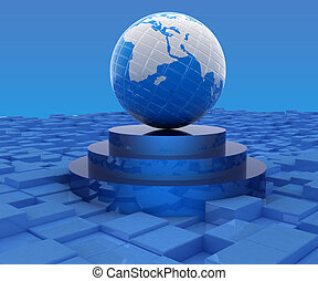Earth on podium against abstract urban background