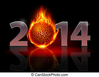 New Year 2014: metal numerals with fire ball instead of zero...