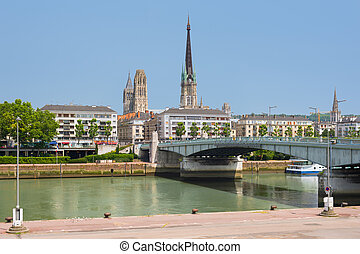 Sena embankment in Rouen in a summer day