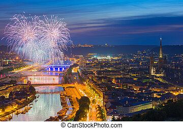 Fireworks over Rouen in a summer night