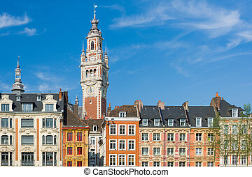 View on chamber of commerce in Lille under the blue sky