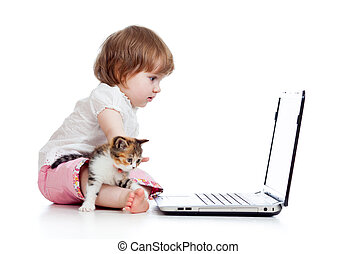 child girl protecting notebook from kitten