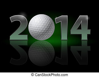 New Year 2014: metal numerals with golf ball instead of zero...