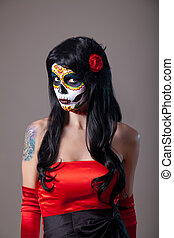 Girl with sugar skull makeup