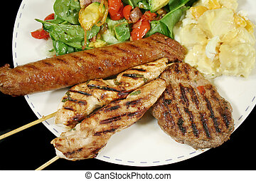 BBQ Lunch 6 - BBQ chicken tenderloin skewers, beef sausage,...