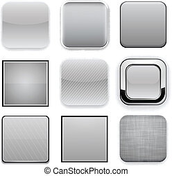 Square grey app icons. - Set of blank grey square buttons...