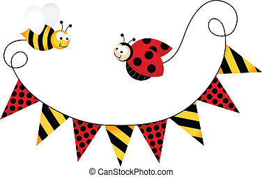 Party Flag Ladybird and Bee - Scalable vectorial image...