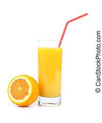 Orange juice and slice. Isolated on a white background.