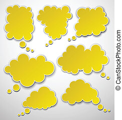Set of paper yellow clouds - Vector illustration of yellow...