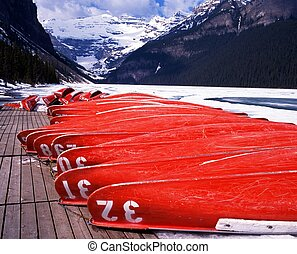Canoes, Lake Louise, Canada.