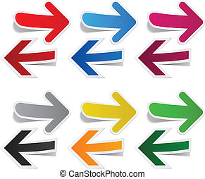 Paper arrows - Vector illustration of sticky collection of...