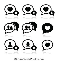 Love speech bubbles, couples vector