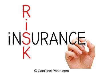 Risk Insurance Crossword - Hand writing Risk Insurance...