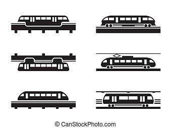 High-speed rail trains - vector illustration