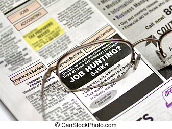 Job hunting ad in the local newspaper