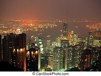 Skyscrapers & harbour, Hong Kong. - Central district and...