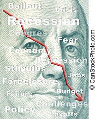 Recession concept on the face of a one hundred dollar bill